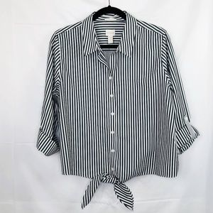 Chico's Striped Tie Front Button Up Top Size 2